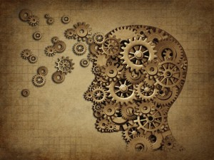 Survival Human brain function grunge with gears