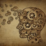 5 things Human brain function grunge with gears