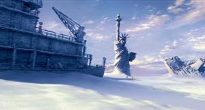Cold New York Harbour freezes over in the film The Day After Tomorrow.